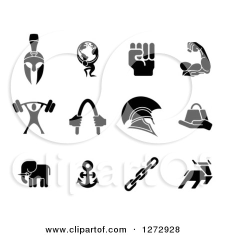 Clipart of Black Strength Icons - Royalty Free Vector Illustration by AtStockIllustration