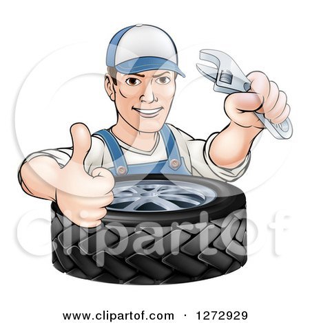 Clipart of a Cartoon Brunette White Mechanic Man Holding an Adjustable Wrench and Thumb up over a Tire - Royalty Free Vector Illustration by AtStockIllustration