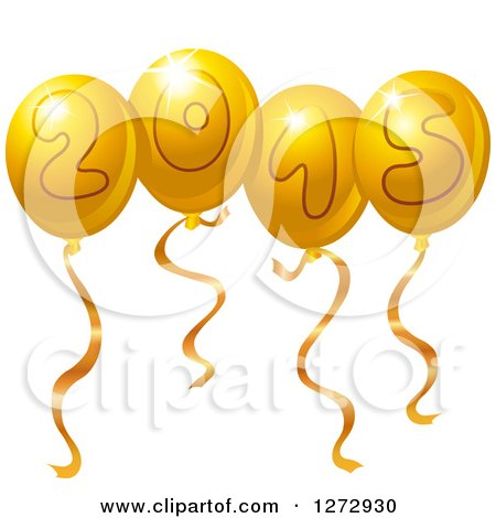 Clipart of Gold New Year 2015 Party Balloons - Royalty Free Vector Illustration by yayayoyo