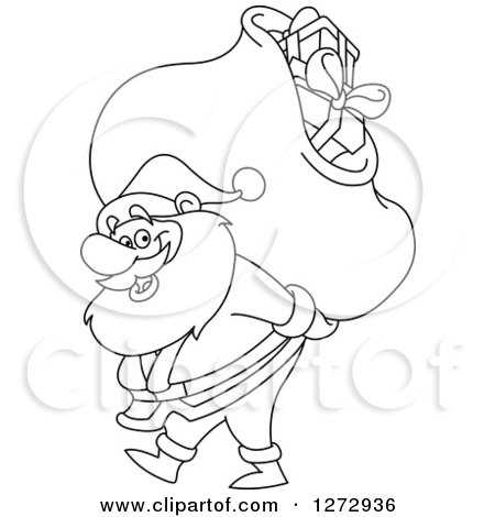 Clipart of a Black and White Line Art Santa Claus Carrying a Christmas Sack on His Back - Royalty Free Vector Illustration by yayayoyo
