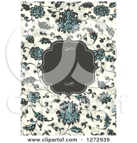 Clipart of a Vintage Frame with Text Space over a Floral Vine Background - Royalty Free Vector Illustration by BestVector