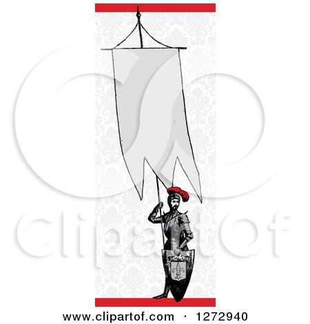 Clipart of a Knight Holding an Announcement Banner over Vintage Damask and Red - Royalty Free Vector Illustration by BestVector