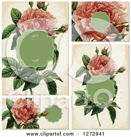 Clipart of Vintage Pink Rose Invitation Designs - Royalty Free Vector Illustration by BestVector
