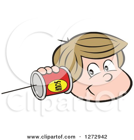 Clipart of a Happy White Boy Holding a Can Pone to His Ear - Royalty Free Vector Illustration by Johnny Sajem
