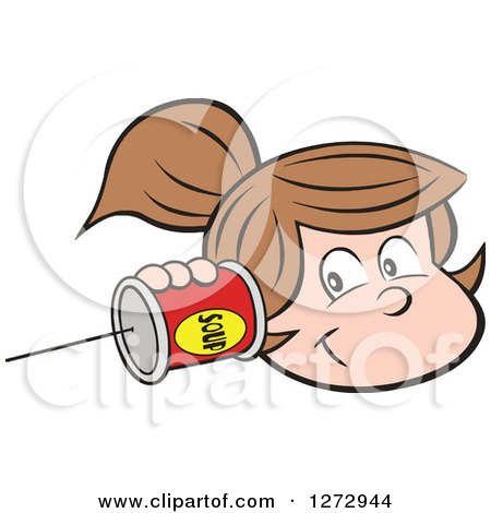 Clipart of a Happy White Girl Holding a Can Pone to Her Ear - Royalty Free Vector Illustration by Johnny Sajem