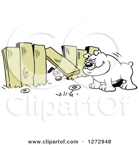 Clipart of a Dog Looking Under a Fence to Another Yard with a Bulldog Waiting - Royalty Free Vector Illustration by Johnny Sajem