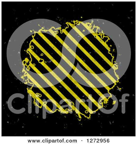 Clipart of a Grungy Hazard Stripes Splatter on Black - Royalty Free Illustration by Arena Creative