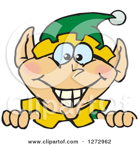 Clipart of a Happy Male Christmas Elf Peeking over a Sign - Royalty Free Vector Illustration by Dennis Holmes Designs