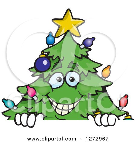 Clipart of a Happy Christmas Tree Peeking over a Sign - Royalty Free Vector Illustration by Dennis Holmes Designs