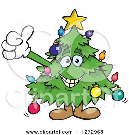 Clipart of a Happy Christmas Tree Giving a Thumb up - Royalty Free Vector Illustration by Dennis Holmes Designs