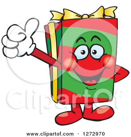 Clipart of a Happy Christmas Gift Character Giving a Thumb up - Royalty Free Vector Illustration by Dennis Holmes Designs