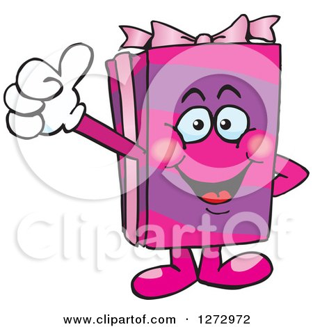 Clipart of a Happy Pink Gift Character Giving a Thumb up - Royalty Free Vector Illustration by Dennis Holmes Designs