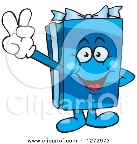 Clipart of a Happy Blue Gift Character Gesturing Peace - Royalty Free Vector Illustration by Dennis Holmes Designs