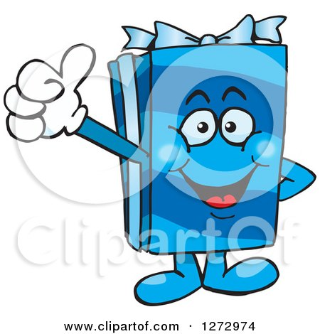 Clipart of a Happy Blue Gift Character Giving a Thumb up - Royalty Free Vector Illustration by Dennis Holmes Designs