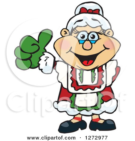 Clipart of a Happy Mrs Claus Giving a Thumb up - Royalty Free Vector Illustration by Dennis Holmes Designs