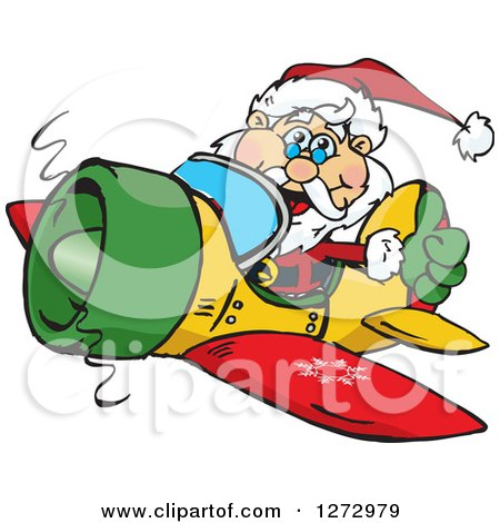 Clipart of a Happy Santa Giving a Thumb up and Flying a Christmas Plane - Royalty Free Vector Illustration by Dennis Holmes Designs