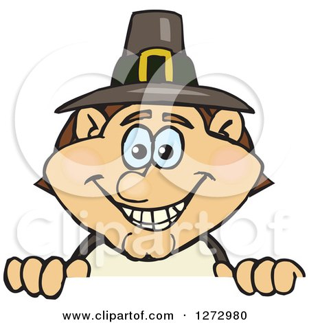 Clipart of a Happy Male Thanksgiving Pilgrim Peeking over a Sign - Royalty Free Vector Illustration by Dennis Holmes Designs