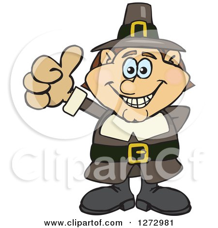 Clipart of a Happy Male Thanksgiving Pilgrim Giving a Thumb up - Royalty Free Vector Illustration by Dennis Holmes Designs