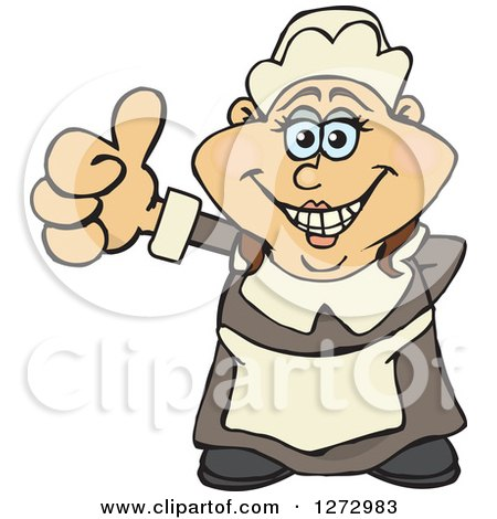 Clipart of a Happy Female Thanksgiving Pilgrim Giving a Thumb up - Royalty Free Vector Illustration by Dennis Holmes Designs