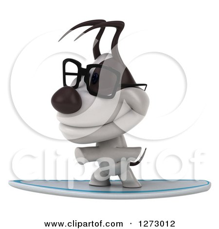 Clipart of a 3d Bespectacled Jack Russell Terrier Dog Surfing - Royalty Free Illustration by Julos