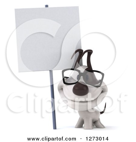 Clipart of a 3d Bespectacled Jack Russell Terrier Dog Smiling Under a Blank Sign - Royalty Free Illustration by Julos