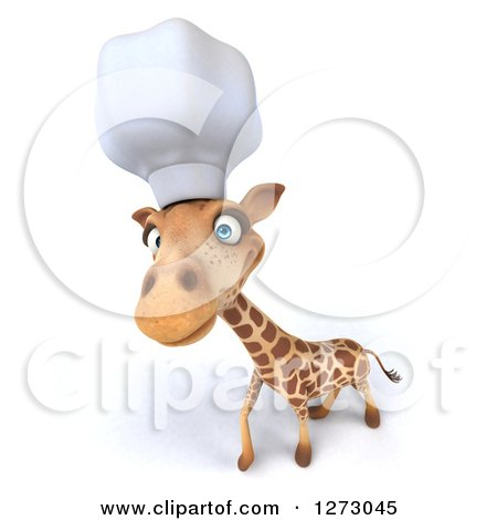 Clipart of a 3d Chef Giraffe Looking Upwards - Royalty Free Illustration by Julos