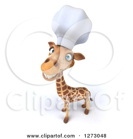 Clipart of a 3d Chef Giraffe Smiling Upwards - Royalty Free Illustration by Julos