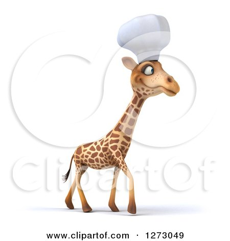 Clipart of a 3d Chef Giraffe Walking to the Right - Royalty Free Illustration by Julos