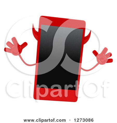 Clipart of a 3d Devil Smart Phone Character Jumping - Royalty Free Illustration by Julos