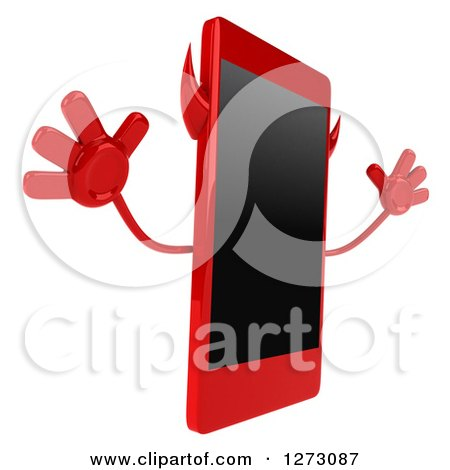 Clipart of a 3d Devil Smart Phone Character Facing Right and Jumping - Royalty Free Illustration by Julos