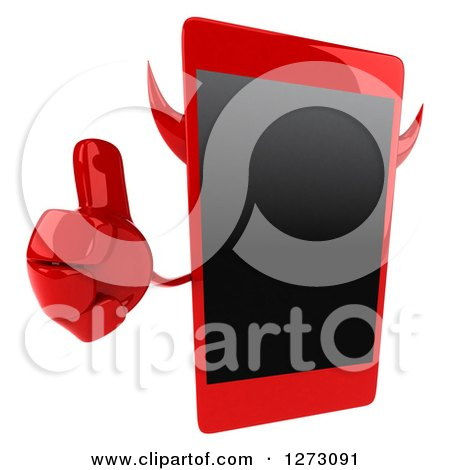Clipart of a 3d Devil Smart Phone Character Holding up a Thumb - Royalty Free Illustration by Julos