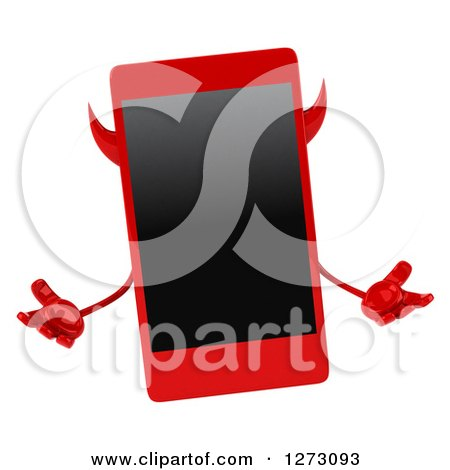 Clipart of a 3d Devil Smart Phone Character Shrugging - Royalty Free Illustration by Julos