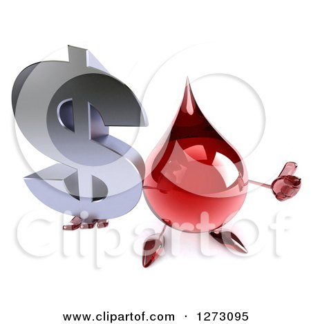Clipart of a 3d Hot Water or Blood Drop Mascot Holding up a Thumg and a Dollar Symbol - Royalty Free Illustration by Julos