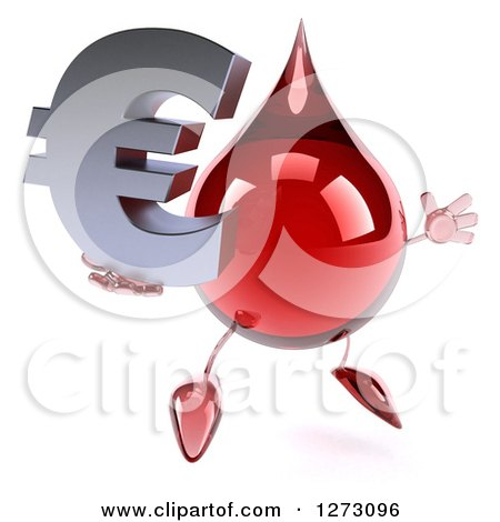 Clipart of a 3d Hot Water or Blood Drop Mascot Facing Slightly Right and Jumping with a Euro Symbol - Royalty Free Illustration by Julos