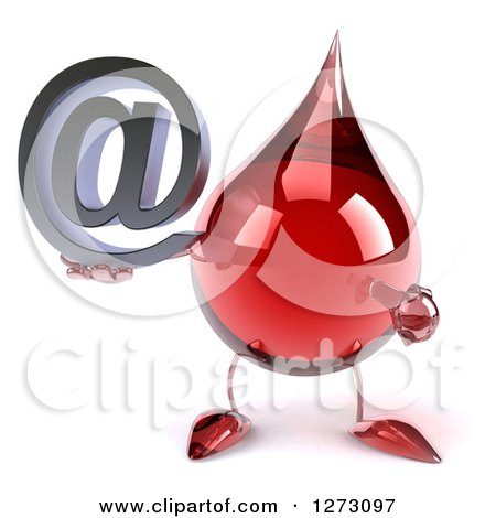 Clipart of a 3d Hot Water or Blood Drop Mascot Jumping and Holding an Arobase Email Symbol - Royalty Free Illustration by Julos