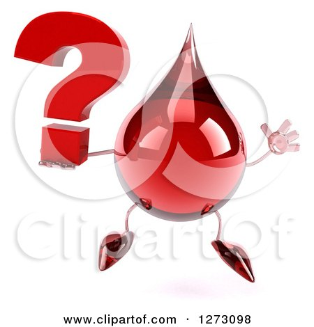 Clipart of a 3d Hot Water or Blood Drop Mascot Jumping and Holding a Question Mark - Royalty Free Illustration by Julos