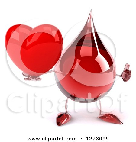 Clipart of a 3d Hot Water or Blood Drop Mascot Giving a Thumb up and Holding a Heart - Royalty Free Illustration by Julos
