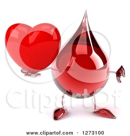 Clipart of a 3d Hot Water or Blood Drop Mascot Giving a Thumb down and Holding a Heart - Royalty Free Illustration by Julos
