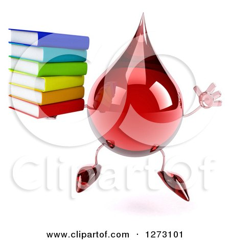 Clipart of a 3d Hot Water or Blood Drop Mascot Jumping and Holding a Stack of Books - Royalty Free Illustration by Julos