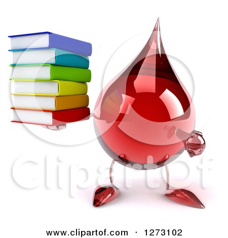 Clipart of a 3d Hot Water or Blood Drop Mascot Holding and Pointing at a Stack of Books - Royalty Free Illustration by Julos