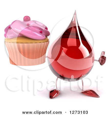Clipart of a 3d Hot Water or Blood Drop Mascot Holding a Thumb up and a Pink Frosted Cupcake - Royalty Free Illustration by Julos