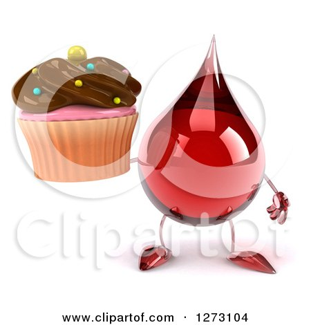 Clipart of a 3d Hot Water or Blood Drop Mascot Holding a Chocolate Frosted Cupcake - Royalty Free Illustration by Julos