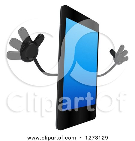 Clipart of a 3d Smart Touch Screen Cell Phone Character Facing Right and Jumping - Royalty Free Illustration by Julos