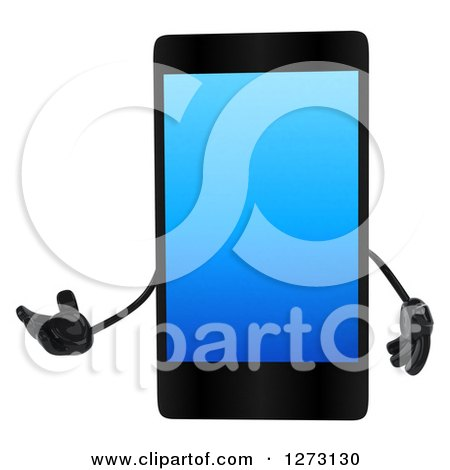Clipart of a 3d Smart Touch Screen Cell Phone Character Presenting - Royalty Free Illustration by Julos