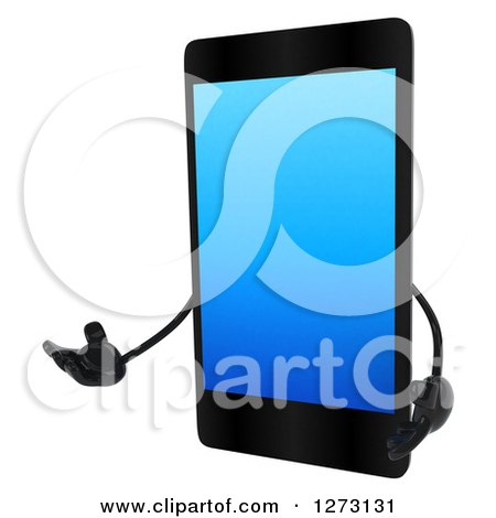 Clipart of a 3d Smart Touch Screen Cell Phone Character Presenting to the Left - Royalty Free Illustration by Julos