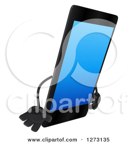 Clipart of a 3d Smart Touch Screen Cell Phone Character Facing Right and Pouting - Royalty Free Illustration by Julos