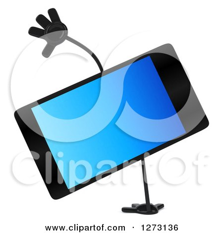 Clipart of a 3d Smart Touch Screen Cell Phone Character Cartwheeling - Royalty Free Illustration by Julos