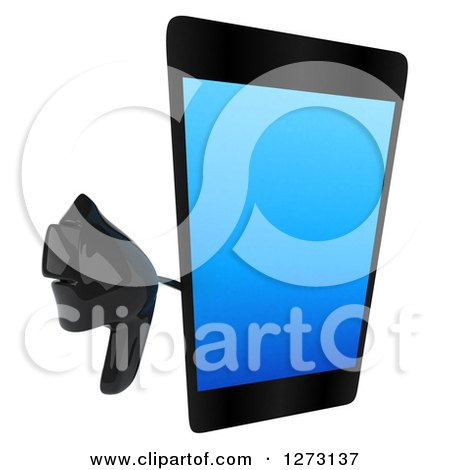 Clipart of a 3d Smart Touch Screen Cell Phone Character Holding up a Thumb down - Royalty Free Illustration by Julos