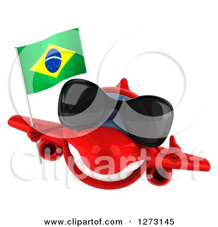 Clipart of a 3d Happy Red Airplane Wearing Sunglasses, Giving a Thumb up and Flying with a Brazilian Flag - Royalty Free Illustration by Julos