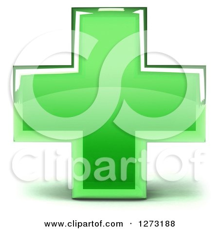 Clipart of a 3d Green Glass Medical Cross - Royalty Free Illustration by Julos